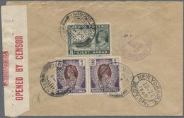 "Birma / Burma / Myanmar: 1940, 2 R. Pair And 8 A. Tied ""RANGOON G.P.O. 25 NO 40"" To Reverse Of Censo - Myanmar (Burma 1948-...)"