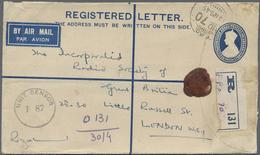 GA Birma / Burma / Myanmar: 1945. Registered Air Mail Indian Postal Stationery Envelope 'three Annas Po - Myanmar (Burma 1948-...)