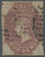 O Ceylon / Sri Lanka: 1857-59 QV 4d. Dull Rose Used, With Complete To Wide Margins Around And Fresh, W - Sri Lanka (Ceylon) (1948-...)