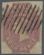 O Ceylon / Sri Lanka: 1859, 4d. Dull Rose, Full To Large Margins All Around, Neatly Oblit. By Oval Bar - Sri Lanka (Ceylon) (1948-...)