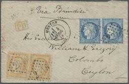 Br Ceylon / Sri Lanka: 1873. Envelope Addressed To Ceylong Bearing French 'Siege De Paris' Yvert 37, 25 - Sri Lanka (Ceylon) (1948-...)