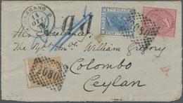 Brfst/Br Ceylon / Sri Lanka: 1873. Part Cover Addressed To Ceylon Bearing Italy Yvert 19, 40c Rose, Yvert 23, - Sri Lanka (Ceylon) (1948-...)
