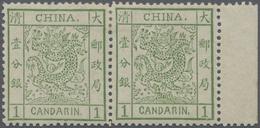 * China: 1878, Large Dragon Thin Paper, A Horizontal Right-margin Pair, Mint Lightly Hinged, Three Per - China
