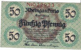 Deutschland Notgeld 50 Pfennig Tieste6280.05.12 RUDESHEIM /48M/ - [11] Local Banknote Issues