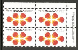 006310 Canada 1971 Radio 15c Plate Block UR MNH - Plate Number & Inscriptions