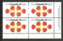 006311 Canada 1971 Radio 15c Plate Block LR MNH - Plate Number & Inscriptions