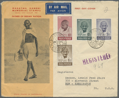 Indien: 1948 GANDHI Complete Set On Illustrated FDC (Walking Gandhi) Sent Registered From Bombay To - India