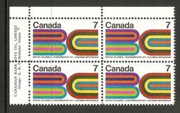006314 Canada 1971 British Columbia 7c Plate Block UL MNH - Plate Number & Inscriptions
