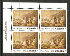 006317 Canada 1971 Paul Kane 7c Plate Block UL MNH - Plate Number & Inscriptions