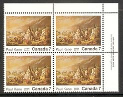 006318 Canada 1971 Paul Kane 7c Plate Block UR MNH - Plate Number & Inscriptions