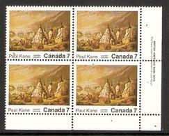 006319 Canada 1971 Paul Kane 7c Plate Block LR MNH - Plate Number & Inscriptions
