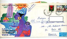 Lettre Cacget Abidjan Sur Armoirie Faune Onu Illustré - Côte D'Ivoire (1960-...)