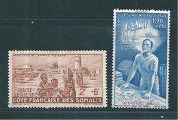 Timbres Des Cote De Somalis PA De 1942   N°9 Et 10   Neufs * - French Somali Coast (1894-1967)