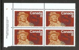 006330 Canada 1972 Frontenac 8c Plate Block UL MNH - Plate Number & Inscriptions