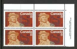 006331 Canada 1972 Frontenac 8c Plate Block UR MNH - Plate Number & Inscriptions