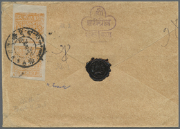 """Br Tibet: 1949/50, 2 T. Yellowish Brown, A Vertical Pair Clichés 2+3 Tied """"LHASA"""" To Reverse Of Registe - Stamps"""