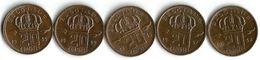 Lot 5 Pièces De Monnaie   20  Centimes - 1951-1993: Baudouin I