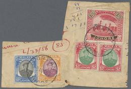 Brfst Malaiische Staaten - Johor: 1950 POSTAL USE Of Johore REVENUE STAMP $25 Red & Brown Along With Johor - Johore