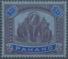 * Malaiische Staaten - Pahang: 1936 Revenue Stamp 'Elephants' $25 Purple & Blue On Blue, Mint Lightly - Pahang