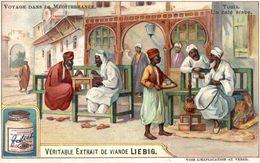 CHROMO LIEBIG VOYAGE DANS LA MEDITERRANEE TUNIS UN CAFE ARABE - Liebig