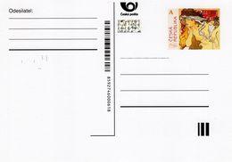 Czech Republic - 2018 - Alfons Mucha - Salon Des Cent - Postcard With Printed Stamp, Hologram And Microtext - Ganzsachen
