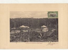 Congo Afrique Planche Lithographie Avec Timbre Taxe Envoi ? Plantation Et Factorie Du Mayumbe - Belgian Congo
