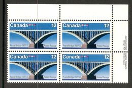 006365 Canada 1977 Bridge 12c Plate Block UR MNH - Plate Number & Inscriptions