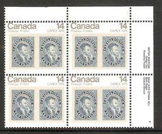 006368 Canada 1978 Capex 14c Plate Block 1 UR MNH - Plate Number & Inscriptions