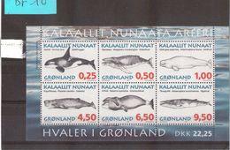 CP5 - GROENLAND -  BLOC FEUILLET N° 10** (266/271**) De 1996. Faune - ANIMAUX MARINS. - Groenland