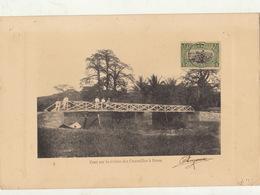 Congo Afrique Planche Lithographie Avec Timbre Taxe Envoi ? Pont Sur La Rivière Des Crocodiles à Boma - Belgian Congo