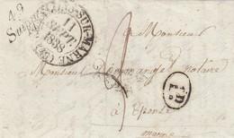 LETTRE. 11 SEPTEMBRE 1838. CHALONS-SUR-MARNE POUR EPENSE. CURSIVE 49/ SUIPPES  / 2365 - Marcophilie (Lettres)