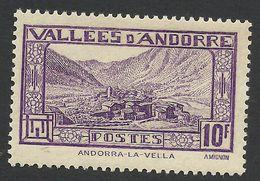 Andorra, 10 F. 1932, Sc # 62, Mi # 46, MH. - Andorre Français