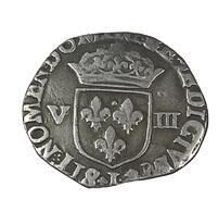 1/8 D'écu -  Henri IIII -  France - 1599 -  Limoges  -  4,50 Gr. -TTB  - Argent - - 1589-1610 Henri IV Le Vert-Galant