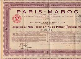 "Actions & Titres  ""Paris Maroc"" 1929 - Azioni & Titoli"