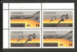 006377 Canada 1978 Commonwealth Games 14c Corner Block Of 4 MNH - 1952-.... Reign Of Elizabeth II