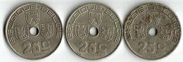 Lot 3 Pièces De Monnaie   25  Centimes - 1934-1945: Leopold III