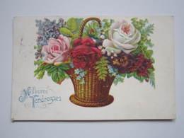 1909 Carte Postale Gauffrée Meilleures Tendresses Panier Fleurs Emile LAMBERT Boucher à VIEVILLE (Haute-Marne) - Autres Communes