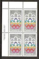 006401 Canada 1974 Olympics 10c + 5c Plate Block UL MNH - Plate Number & Inscriptions
