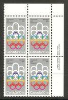 006402 Canada 1974 Olympics 10c + 5c Plate Block UR MNH - Plate Number & Inscriptions