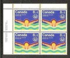 006404 Canada 1975 Water Sports 8c + 2c Plate Block UL MNH - Numeri Di Tavola E Bordi Di Foglio