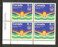 006405 Canada 1975 Water Sports 8c + 2c Plate Block LL MNH - Numeri Di Tavola E Bordi Di Foglio