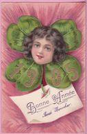 L74A 038 - Bonne  Année - Visage De Fillette Dans Un Trèfle  Année 1905  - Carte Précurseur Gauffrée - New Year