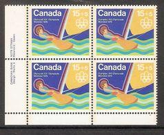 006406 Canada 1975 Water Sports 15c + 5c Plate Block LL MNH - Numeri Di Tavola E Bordi Di Foglio