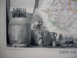 SUPERBE GRAVURE XIX ème - Carte Geographique  DEPARTEMENT  DE LA MARNE - V.LEVASSEUR - Gravé Par LAGUILLERMIE Et RAIMAUD - Cartes Géographiques