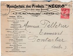 Enveloppe Commerciale 1941 / Manufacture Des Produits NEGRO / Anc. Léon HALATRE / Cirage Encres / 80 Amiens Somme - Maps