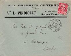 """Enveloppe Commerciale 1949 / Vve L. VINDIOLET / """"Aux Galeries Centrales"""" / Confection / 88 Raon L' Etape / Vosges - Maps"""