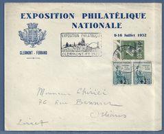 FRANCE -  N° 163 X 2 + N° 275 - EXPOSITION PHILATÉLIQUE NATIONALE - CLERMONT-FERRAND 1932 - Marcofilia (sobres)