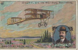 Chromos - Chocolat Félix Potin - Aviation -Aviateur Goupy Biplan - Bruyères Bretagne - Unclassified