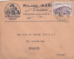 """Enveloppe Commerciale 1947 / Roland HARET / """"La Moulinière """"/ Confection / Moulin / 60 Villars Saint Paul / Oise - Maps"""