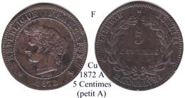 F-1872 A, 5 Centimes - Francia